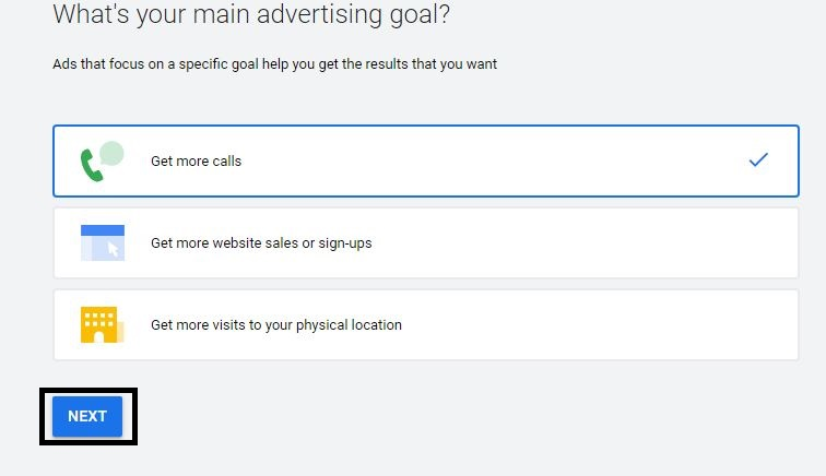 main advertising goal, next button